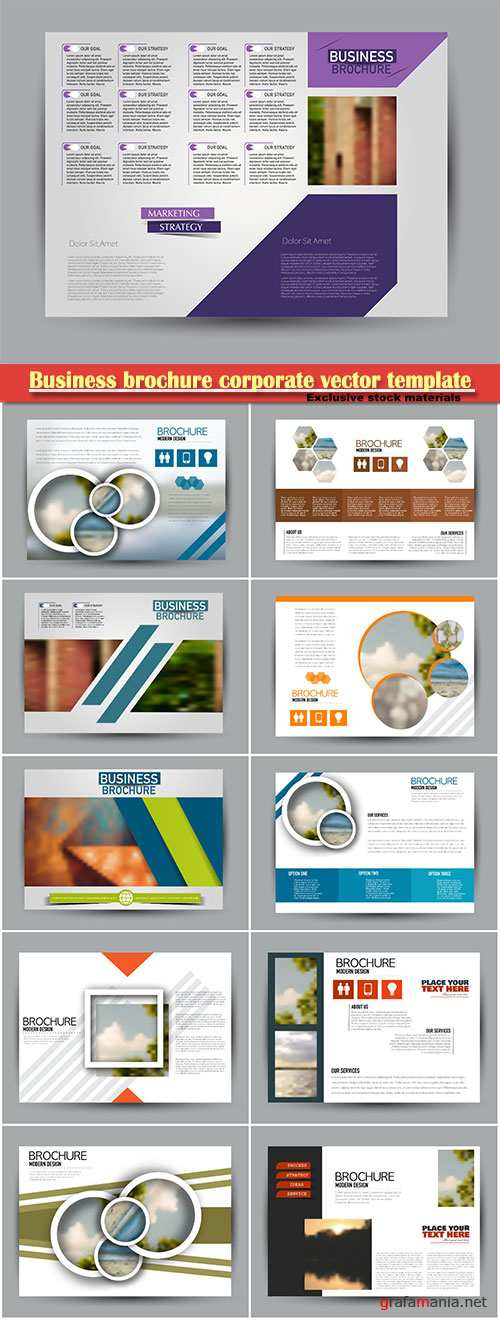 Business brochure corporate vector template, magazine flyer mockup # 8