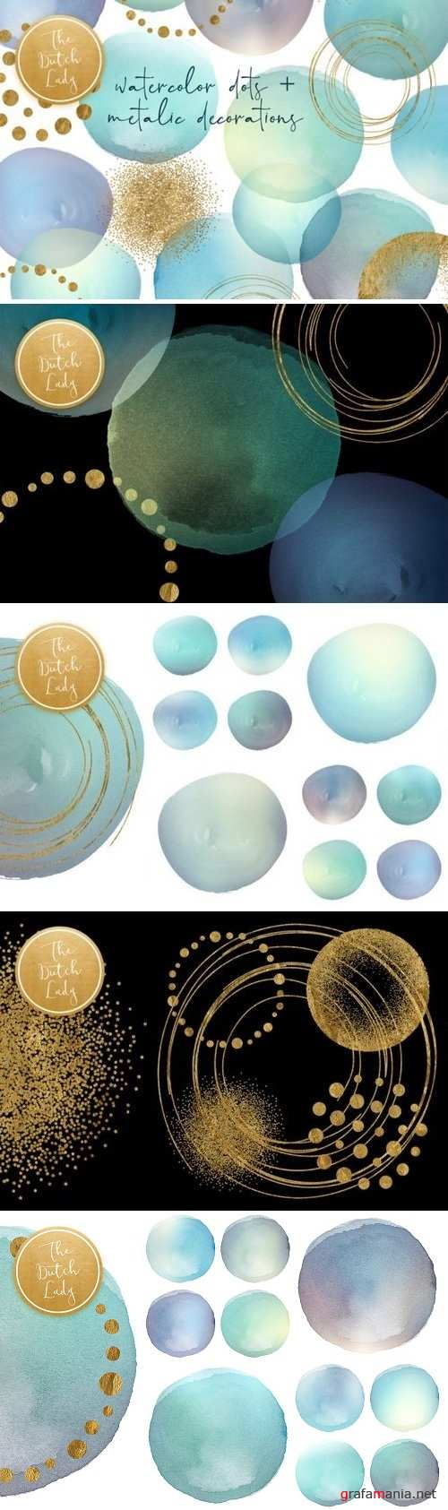 Watercolor Dot & Metallic Decoration 3363605