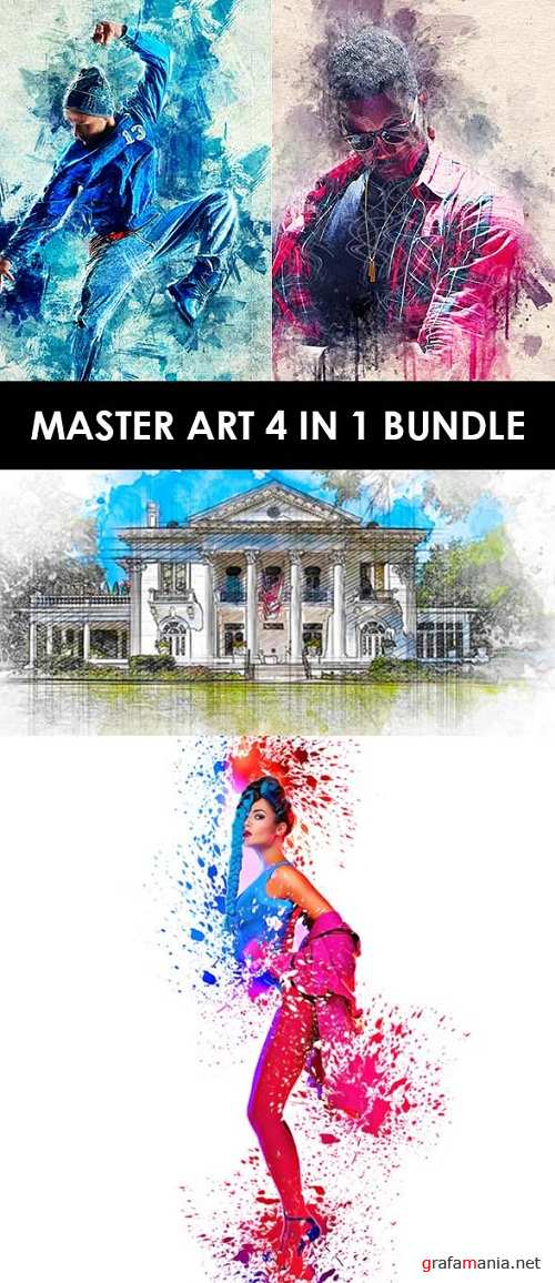 Master Art 4 in 1 Photoshop Action Bundle - 22591565