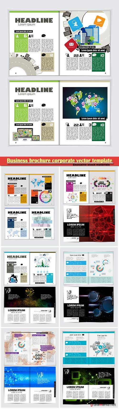 Business brochure corporate vector template, magazine flyer mockup # 19