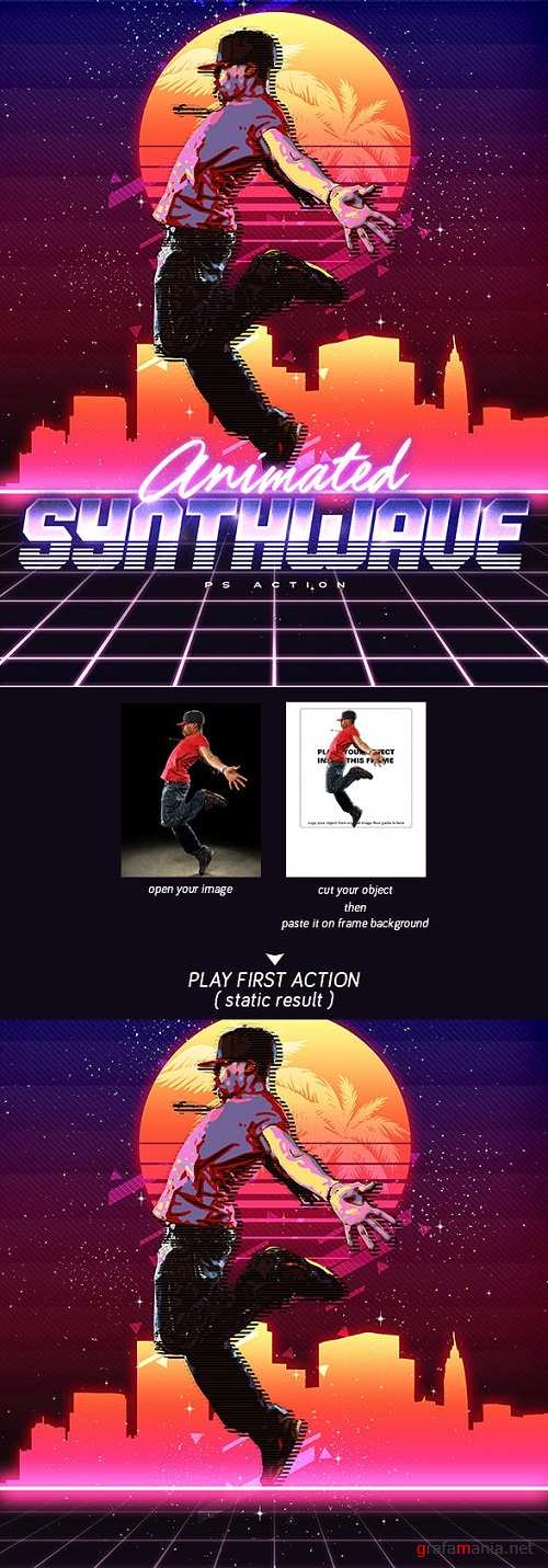 Animated 80's Synthwave Poster - Photoshop Action 23109854