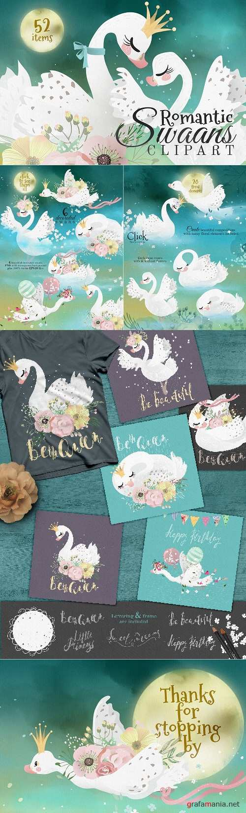Romantic Swans Clipart - 2244992