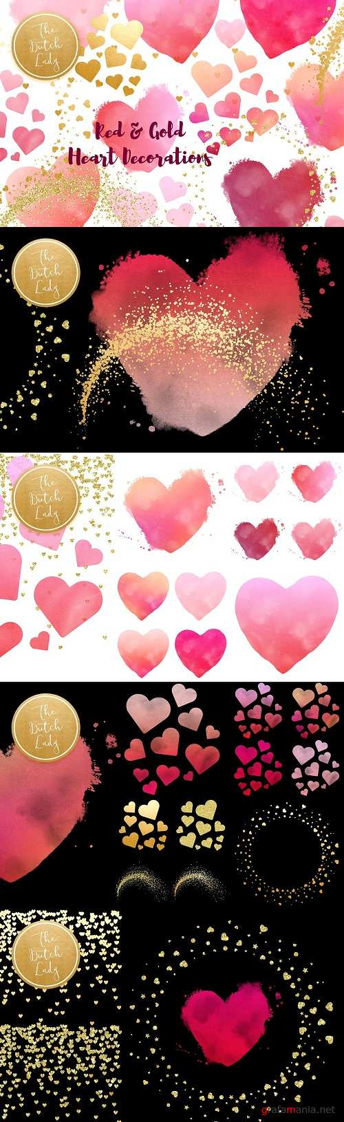 Painted Hearts & Golden Decoration 3371547
