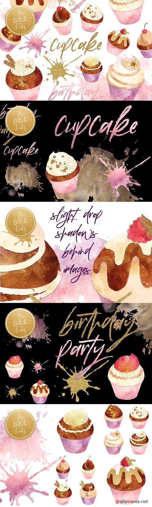 Cupcake Clipart Set in Grunge Style 3370002