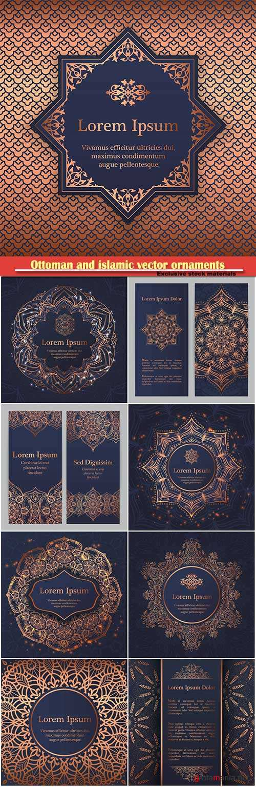 Ottoman and islamic vector ornaments for wedding invitation, book cover or flyer, floral pattern