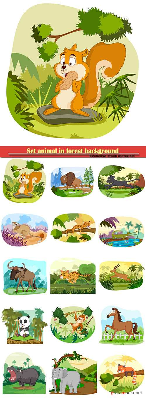 Set animal in forest background in vector