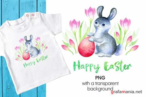 Cute Easter bunny. Printable png - 195708