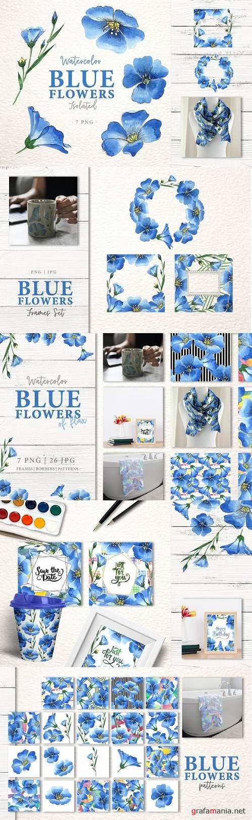 Blue flowers of flax Watercolor png - 3344724