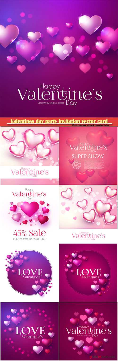 Valentines day party invitation vector card # 17