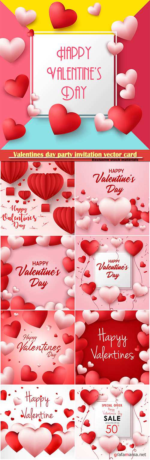 Valentines day party invitation vector card # 14