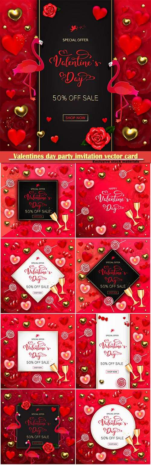 Valentines day party invitation vector card # 16