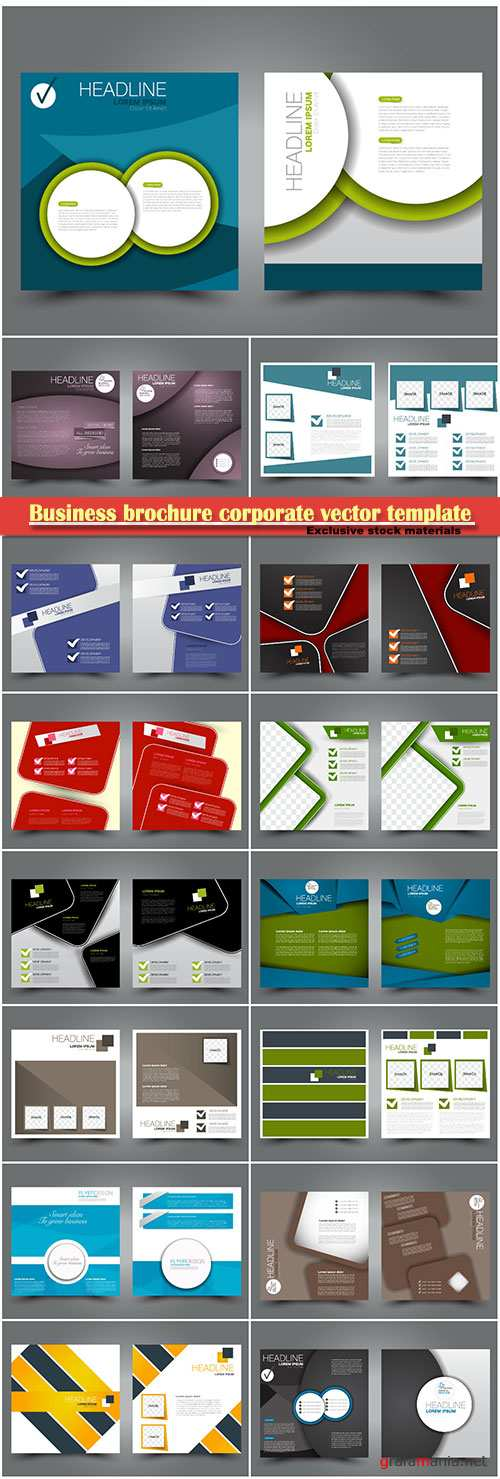 Business brochure corporate vector template, magazine flyer mockup # 25