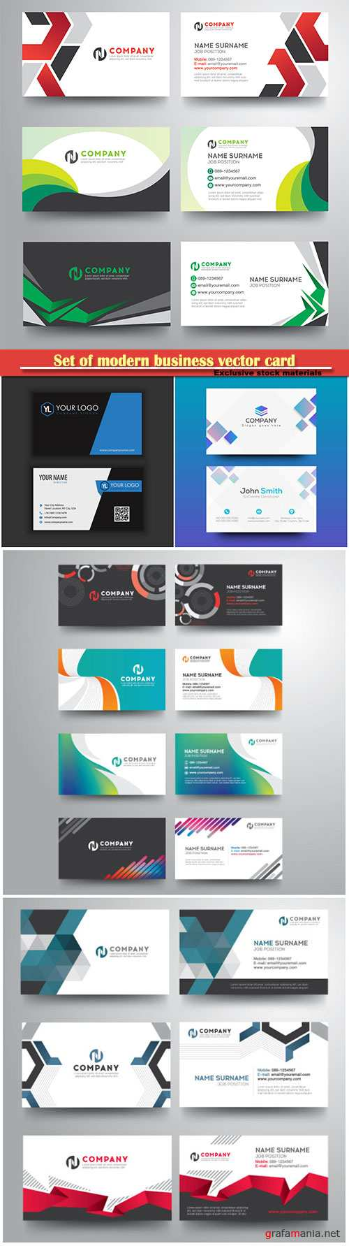 Set of modern business vector card, creative with geometric colorful