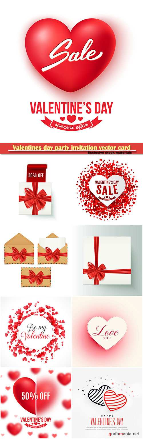 Valentines day party invitation vector card # 28