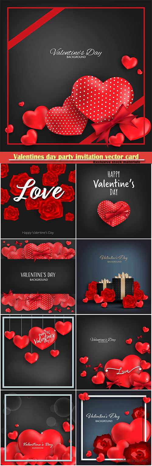 Valentines day party invitation vector card # 24