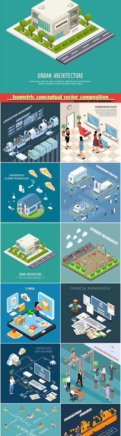 Isometric conceptual vector composition, infographics template # 75