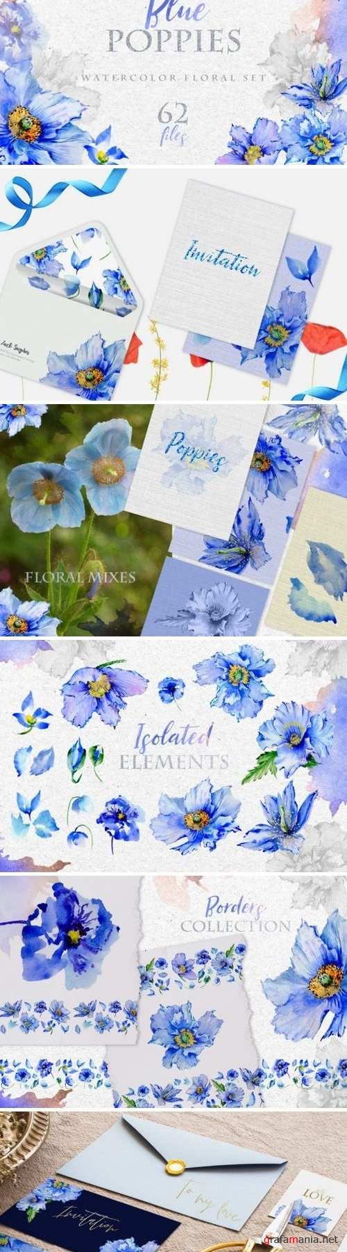 Blue Poppies Watercolor png 3319870