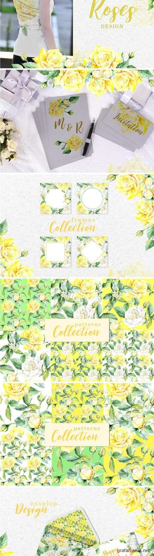 Roses Bright yellow Watercolor png - 3319188