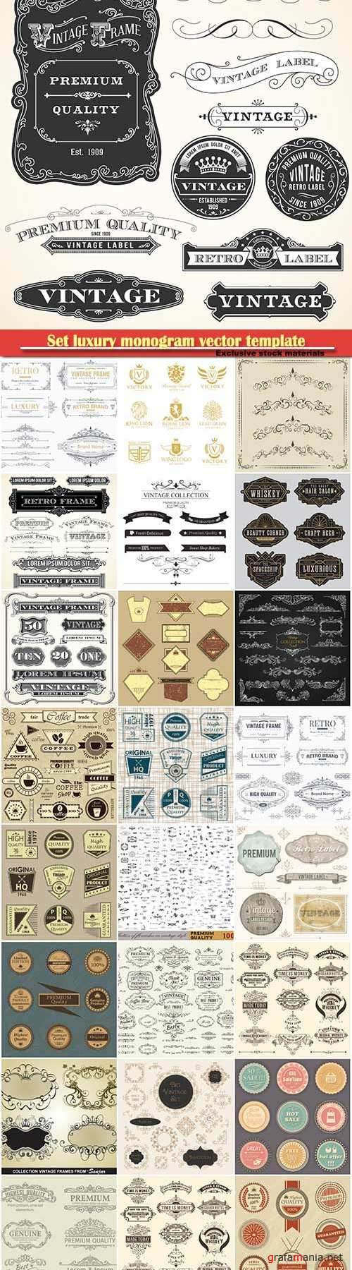 Set luxury monogram vector template, logos, badges, symbols # 10