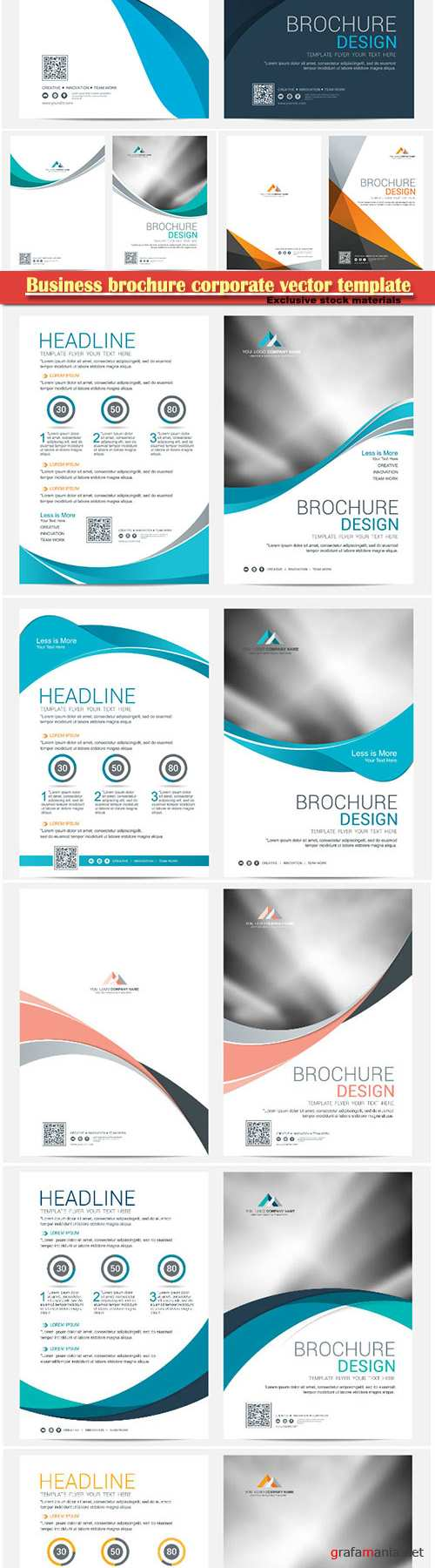 Business brochure corporate vector template, magazine flyer mockup