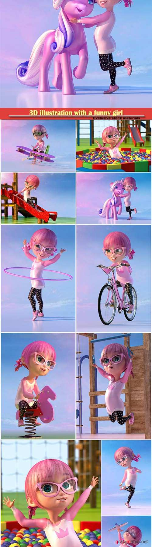 3D illustration with a funny girl
