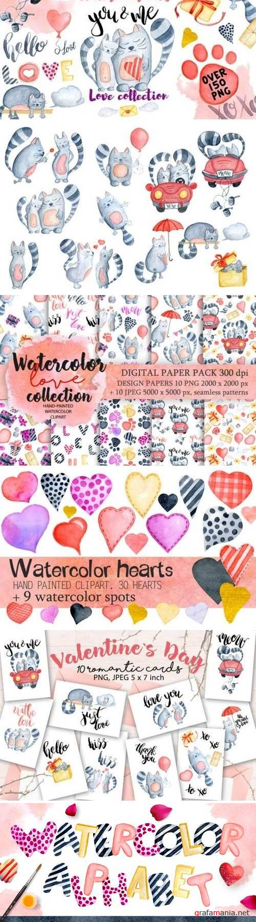 Watercolor Valentines day cats - 1179103