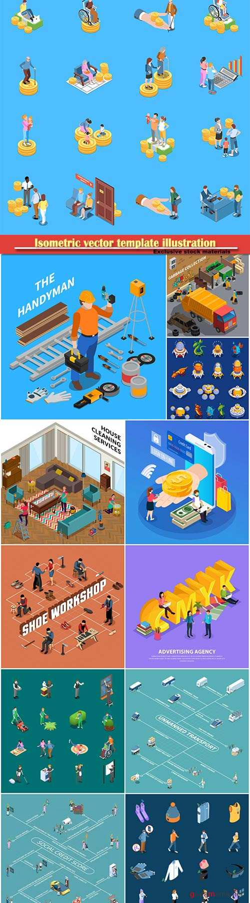 Isometric vector template illustration # 2