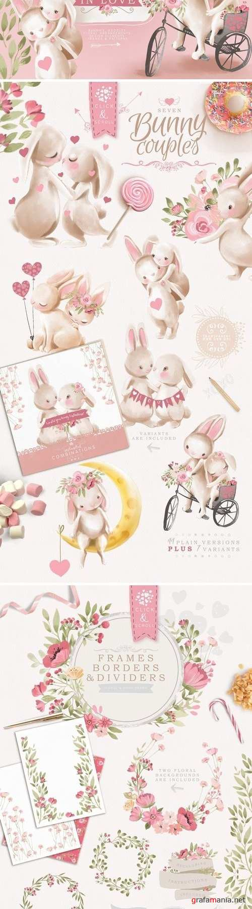 Bunnies In Love Clipart Set - 3247077