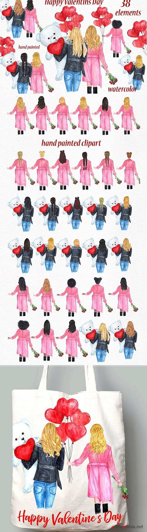 Valentines Day Girls Clipart - 3370873