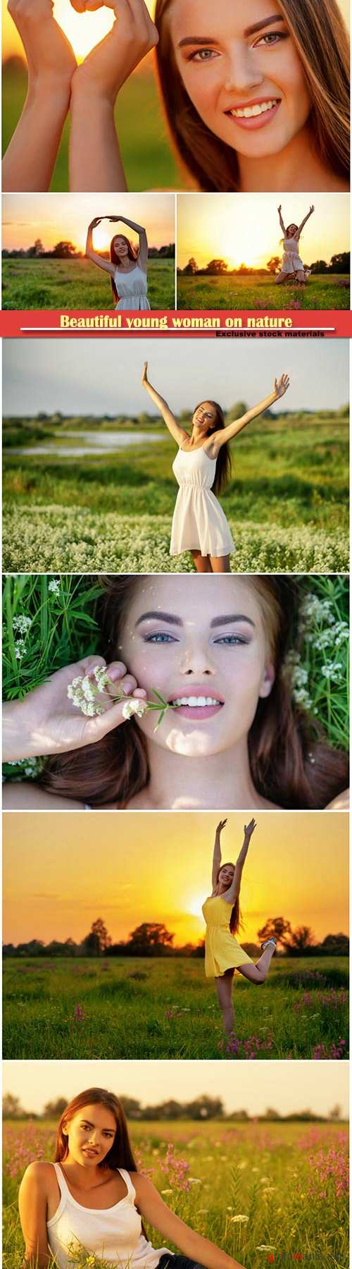 Beautiful young woman on nature over field background