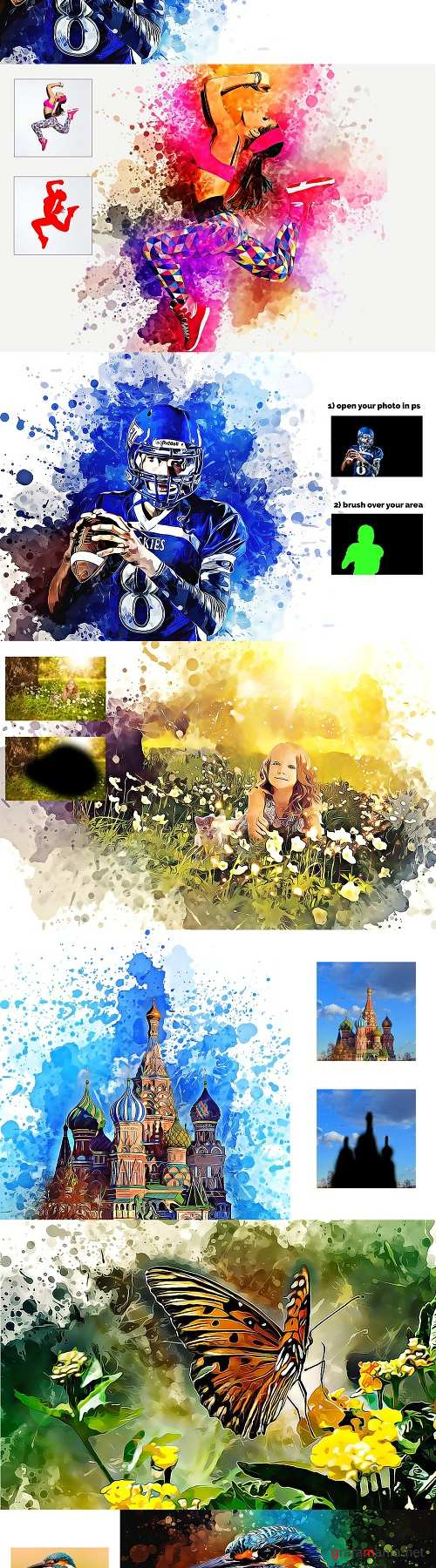 Watercolor Painting Photoshop Action 3365167