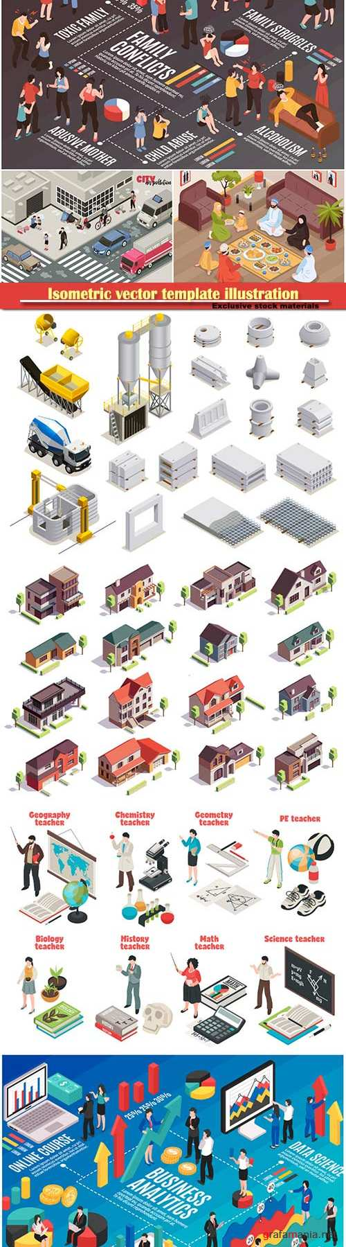 Isometric vector template illustration # 6