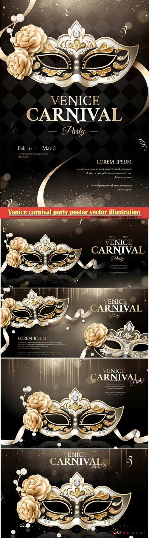 Venice carnival party poster vector illustration