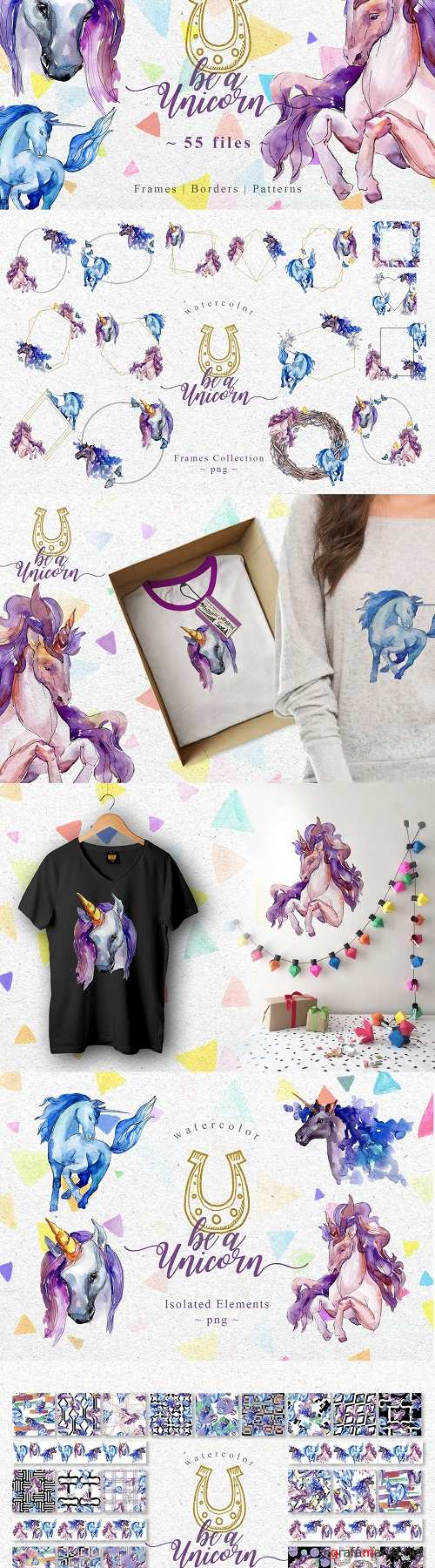 Unicorn violet Watercolor png - 3349004