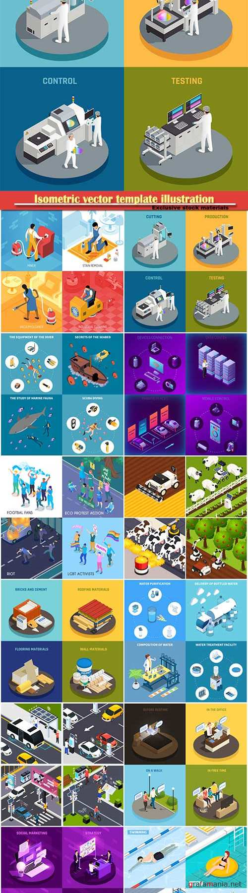 Isometric vector template illustration # 8