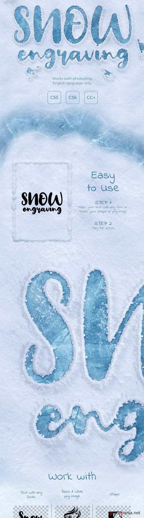 Snow Engraving Photoshop Action 23113670