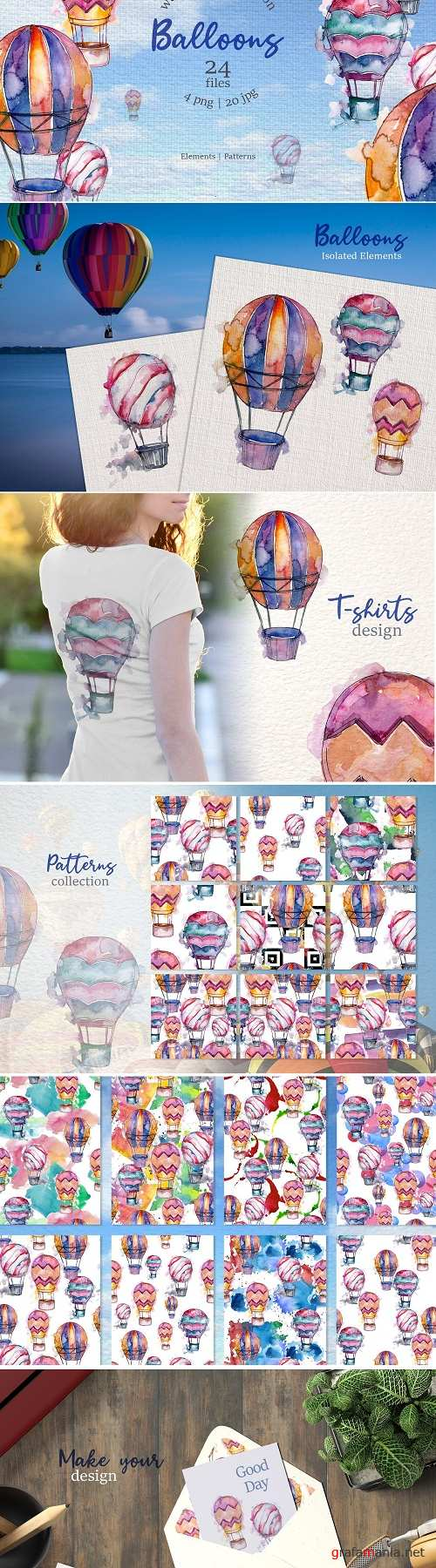 Balloons Watercolor blue png - 3354117