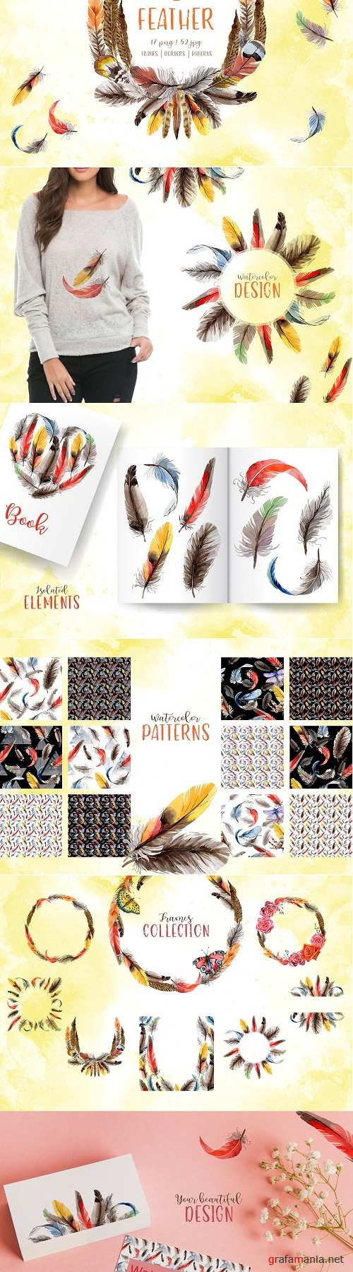 Feather Watercolor png - 3349794