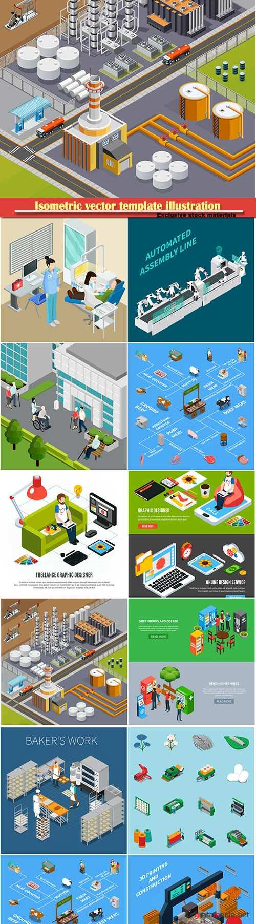 Isometric vector template illustration # 15