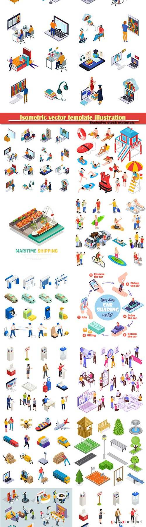 Isometric vector template illustration # 17