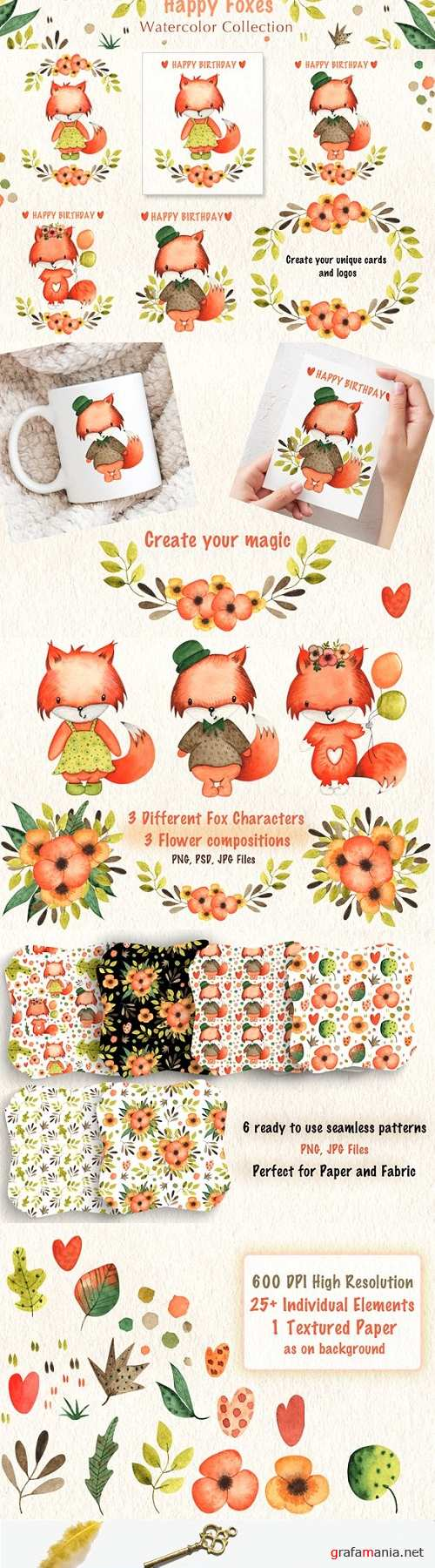 Happy Foxes Watercolor Collection - 3369221