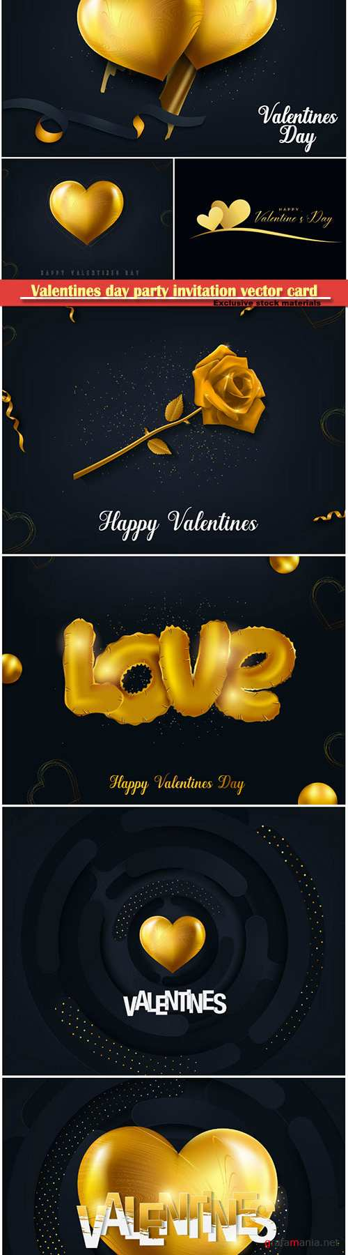 Valentines day party invitation vector card # 18