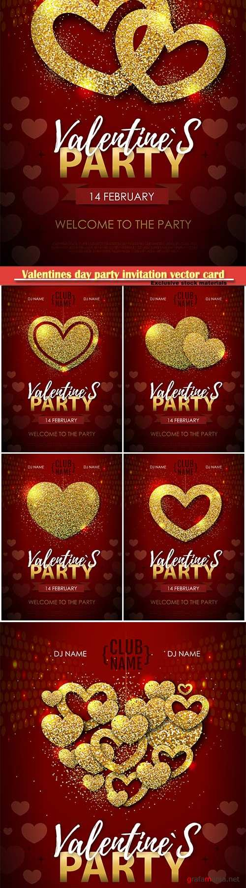 Valentines day party invitation vector card # 13