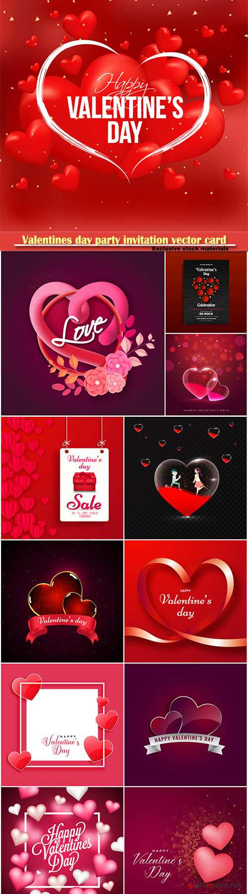 Valentines day party invitation vector card # 22