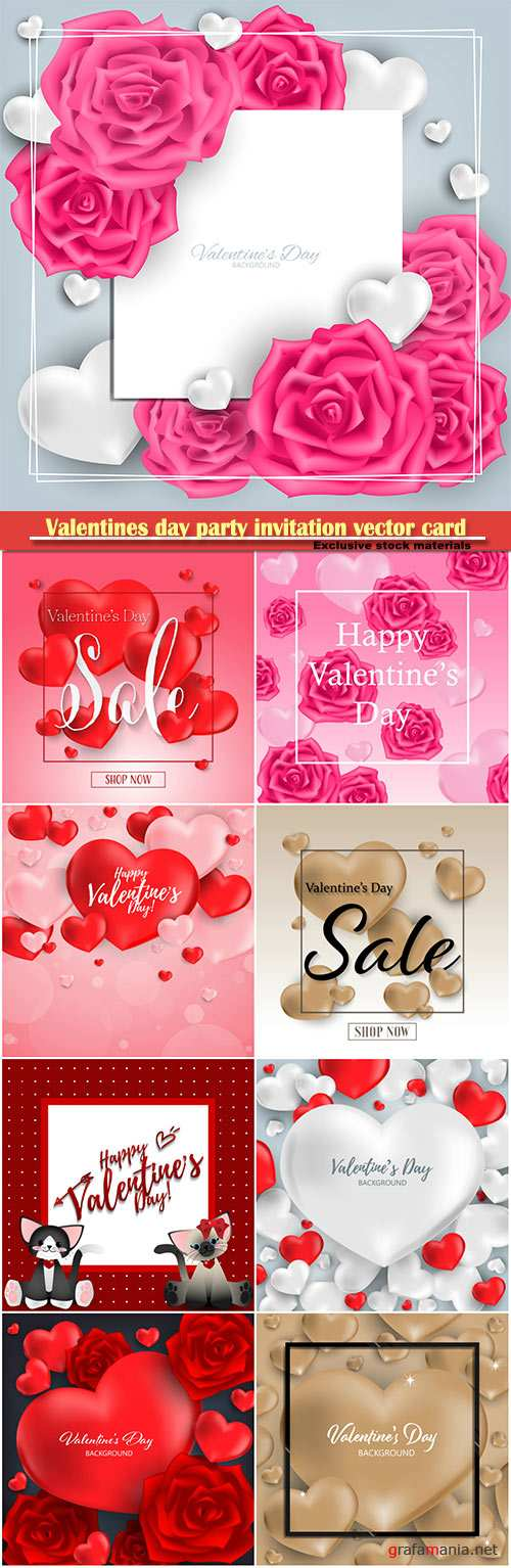 Valentines day party invitation vector card # 30