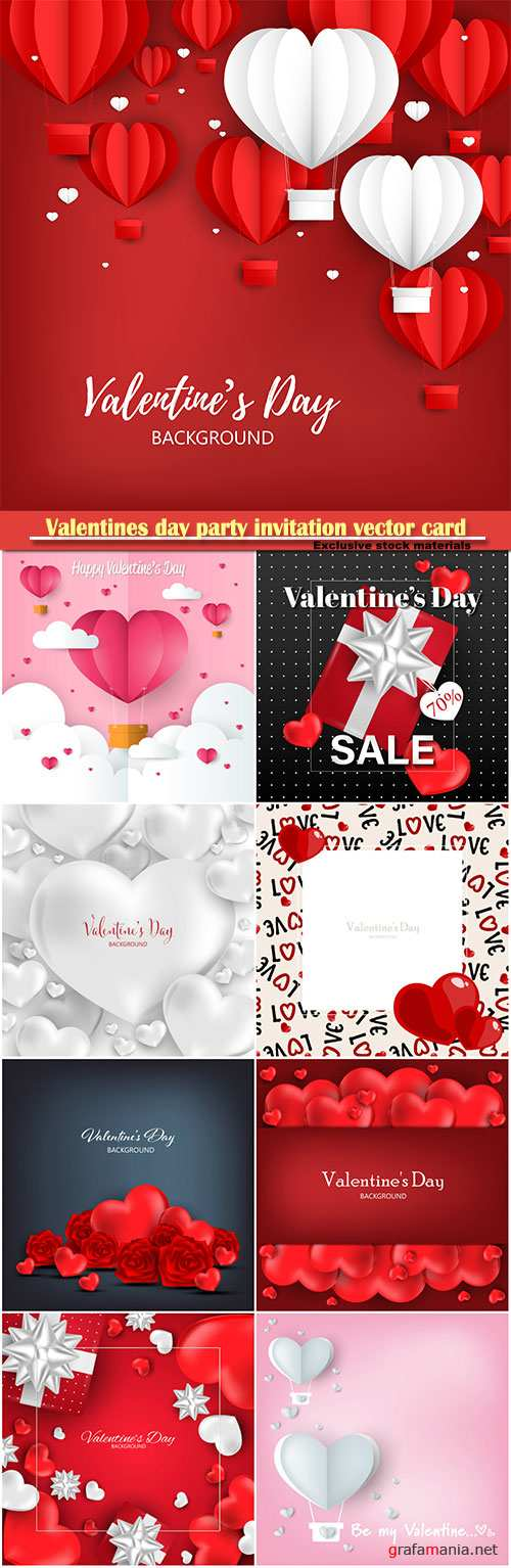Valentines day party invitation vector card # 29