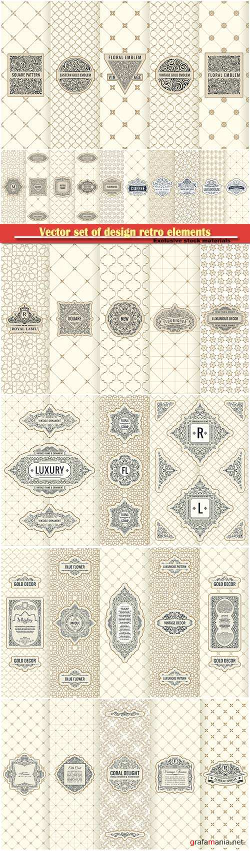 Vector set of design retro elements, restaurant labels, icon, logo, frame, luxury packaging