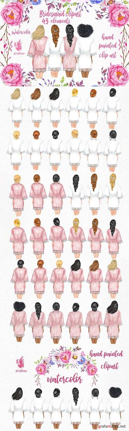 Bridesmaid Wedding Robes clipart - 3425475