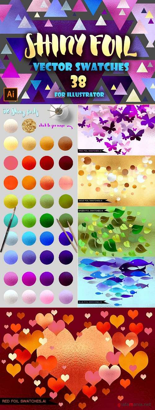 DB Shiny foils Vector Swatches for AI 83778