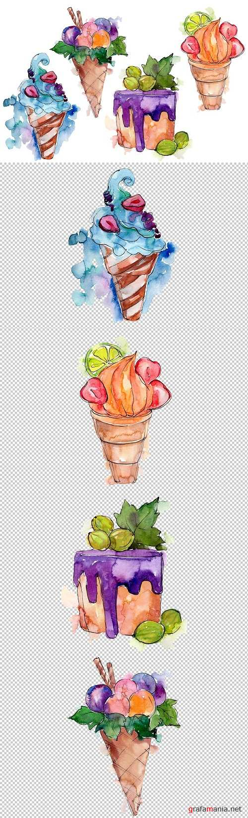 Fruit Dissert Watercolor png - 3459205